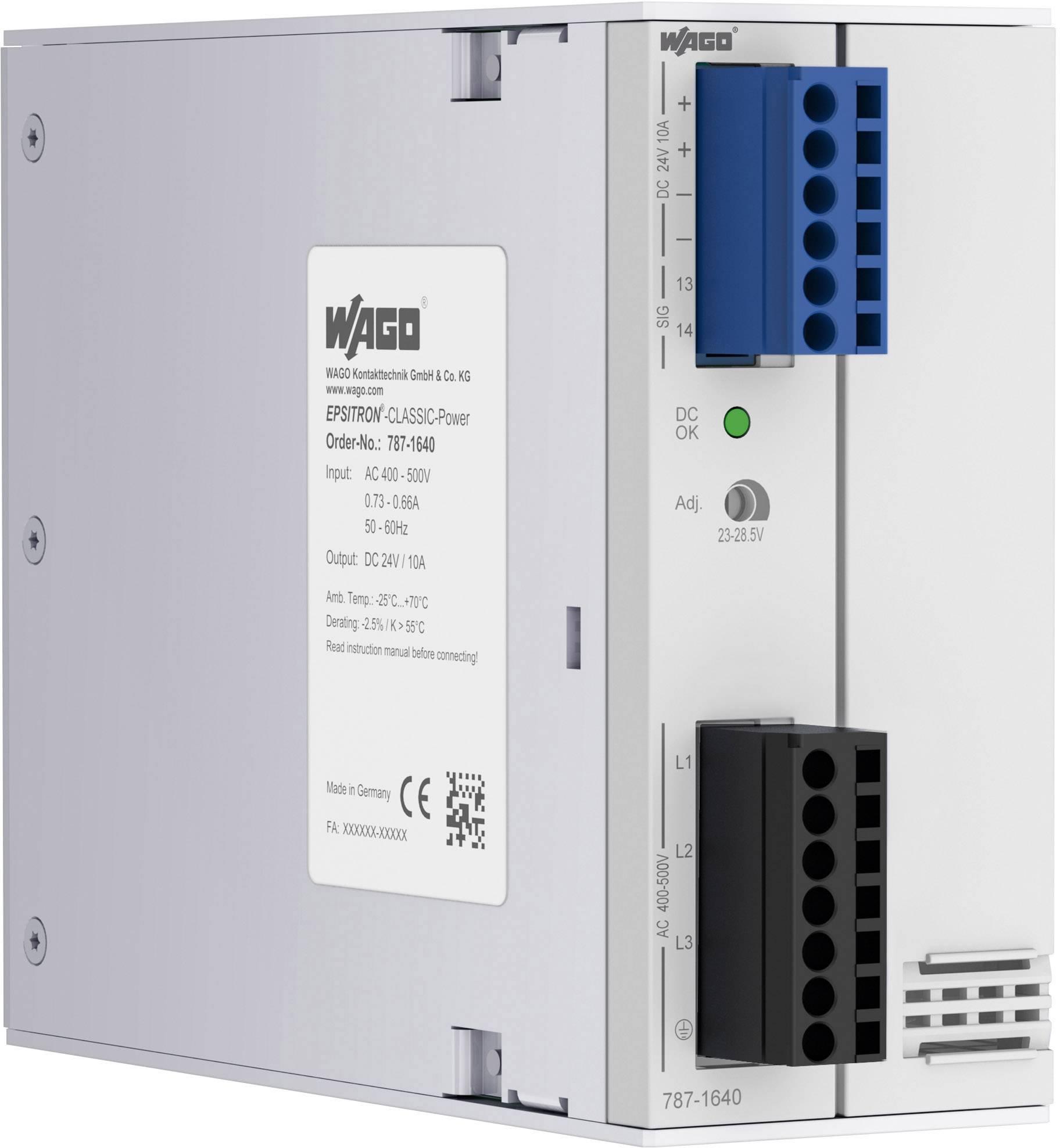 Sieťový zdroj na montážnu lištu (DIN lištu) WAGO 787-1640, 1 x, 24 V, 10 A, 240 W