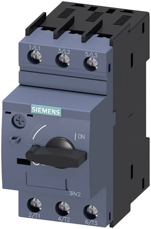 Výkonový vypínač Siemens 3RV2011-1AA10 3 spínací kontakty Rozsah nastavení (proud): 1.1 - 1.6 A Spínací napětí (max.): 690 V/AC (š x v x h) 45 x 97 x 96 mm 1 ks