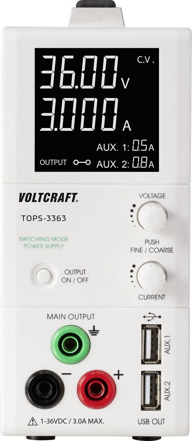 Laboratorní zdroj s nastavitelným napětím VOLTCRAFT TOPS-3363, 1 - 36 V/DC, 0.25 - 3 A, 100 W
