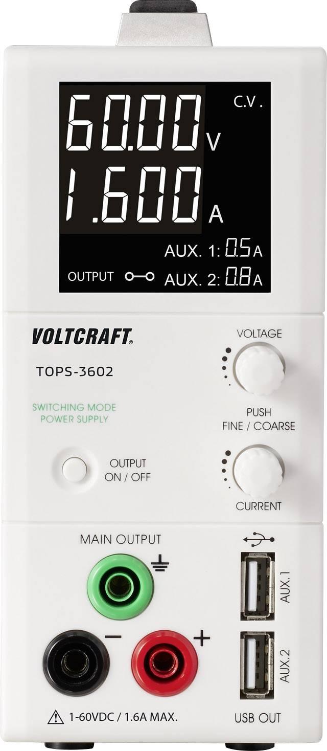 Laboratórny zdroj s nastaviteľným napätím VOLTCRAFT TOPS-3602, 1 - 60 V/DC, 0.25 - 1.6 A, 100 W