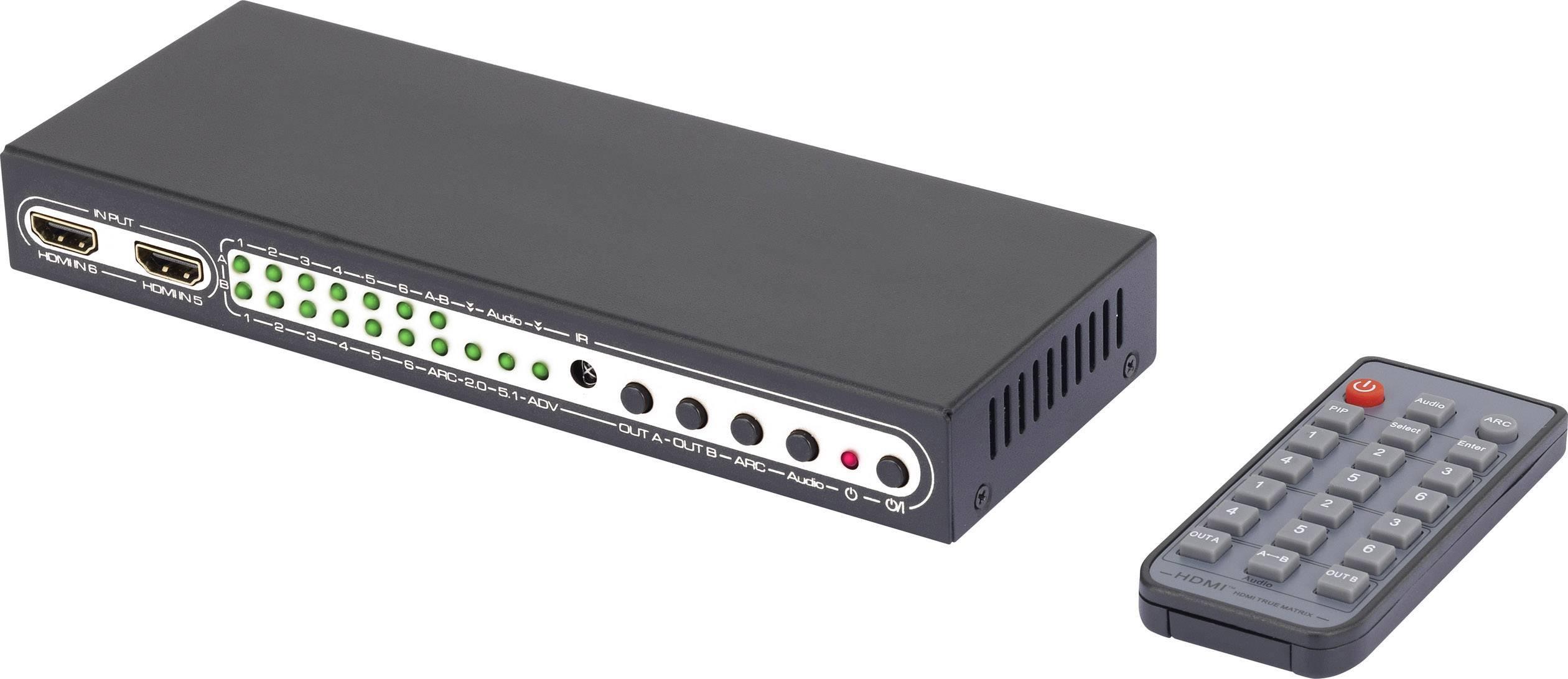 Přepínač HDMI Matrix SpeaKa Professional, 6 portů , s dálkovým ovládáním, N/A