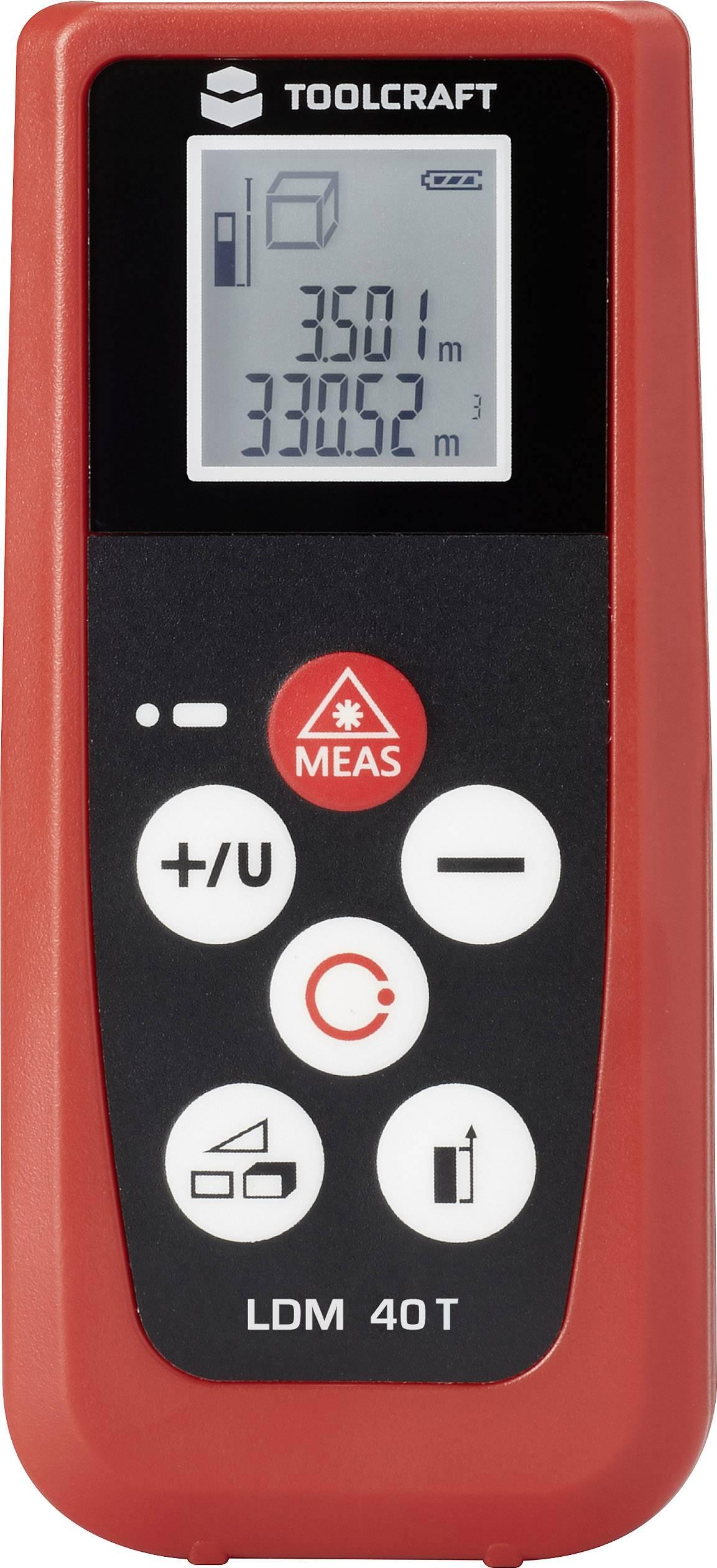 Laserovýdiaľkomer TOOLCRAFT LDM 40T, Rozsah merania (max.) 40 m