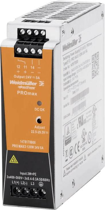 Síťový zdroj na DIN lištu Weidmüller PRO MAX3 120W 24V 5A, 24 V, 5 A, 120 W