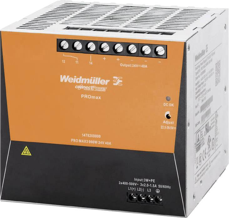Síťový zdroj na DIN lištu Weidmüller PRO MAX3 960W 24V 40A, 24 V, 40 A, 960 W