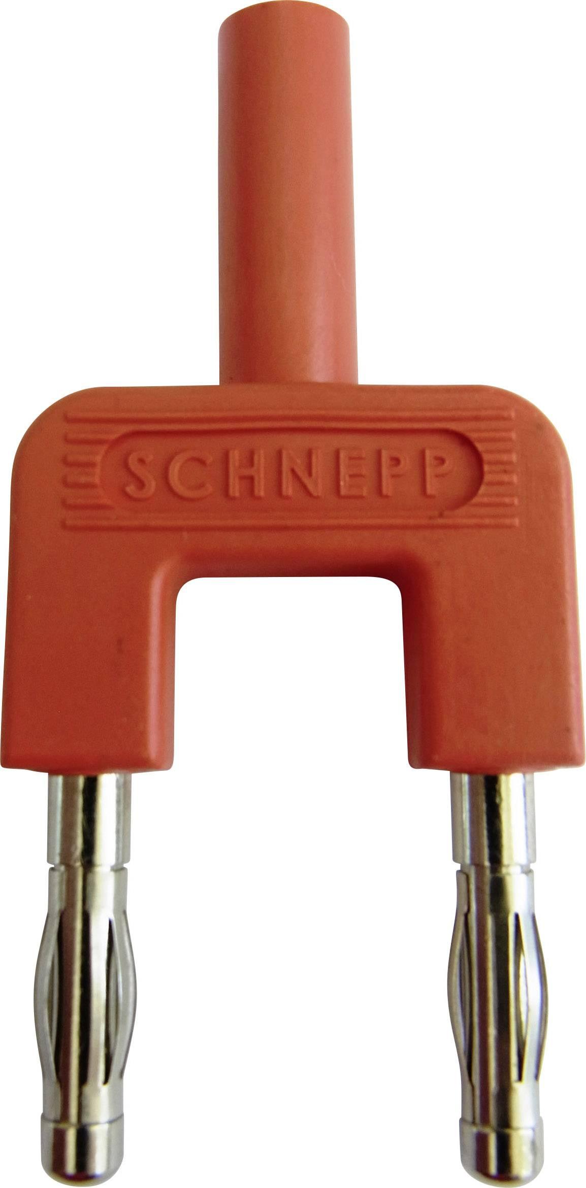 Skratovací mostík Schnepp 19/4mB/rt, Ø hrotu 4 mm, rozostup hrotov 19 mm, červená, 1 ks