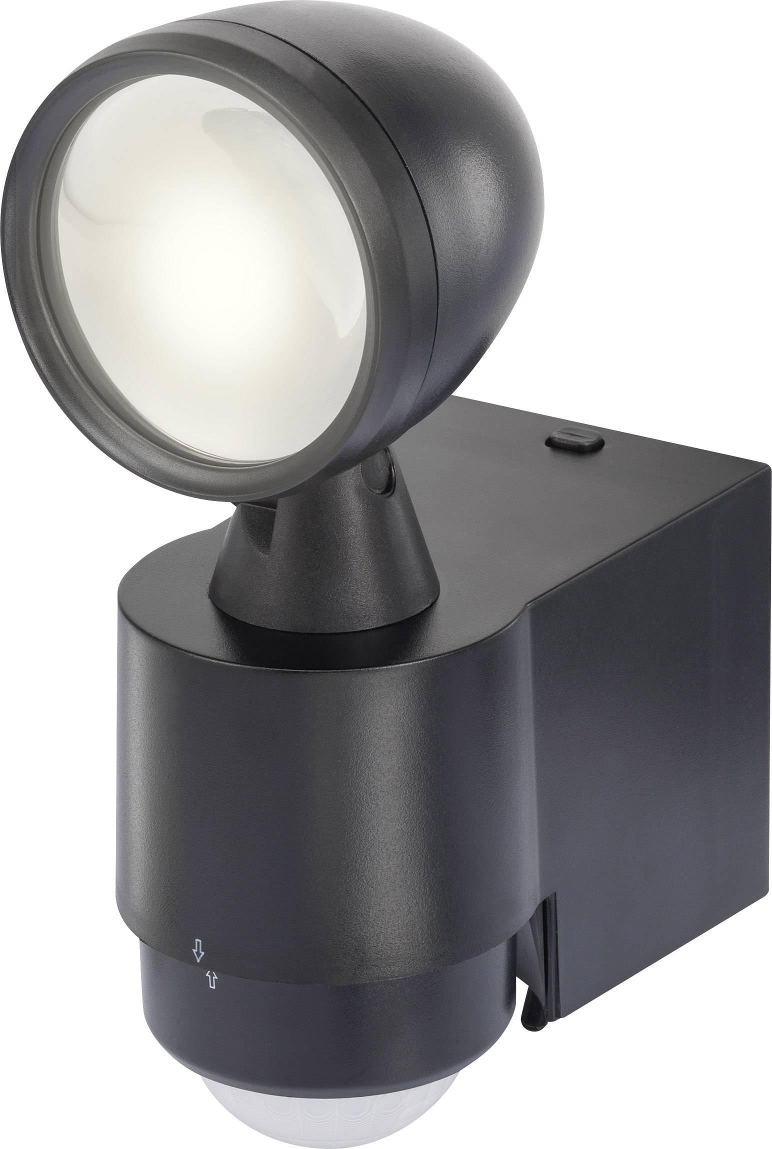 LEDvonkajšieosvetlenie s PIR senzorom 7.5 W neutrálne biela Renkforce Cadiz 1433330 čierna