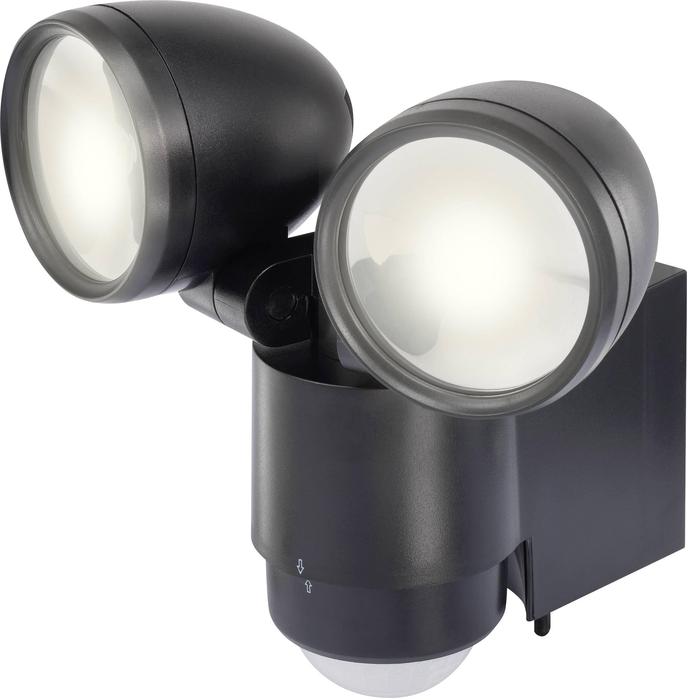 LEDvonkajšieosvetlenie s PIR senzorom 10 W denné svetlo Renkforce Cadiz 1432725 čierna