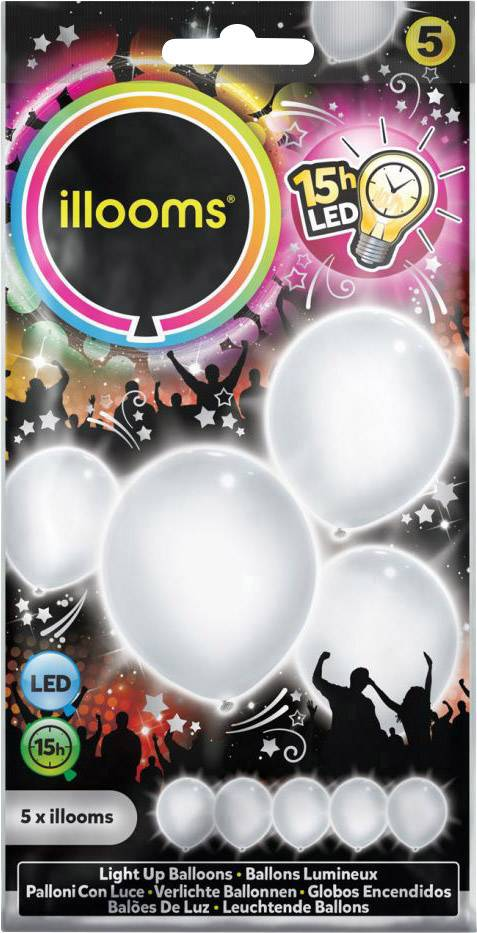 LED svietiace party balóny illooms LED-Luftballons Weiß 5er Set