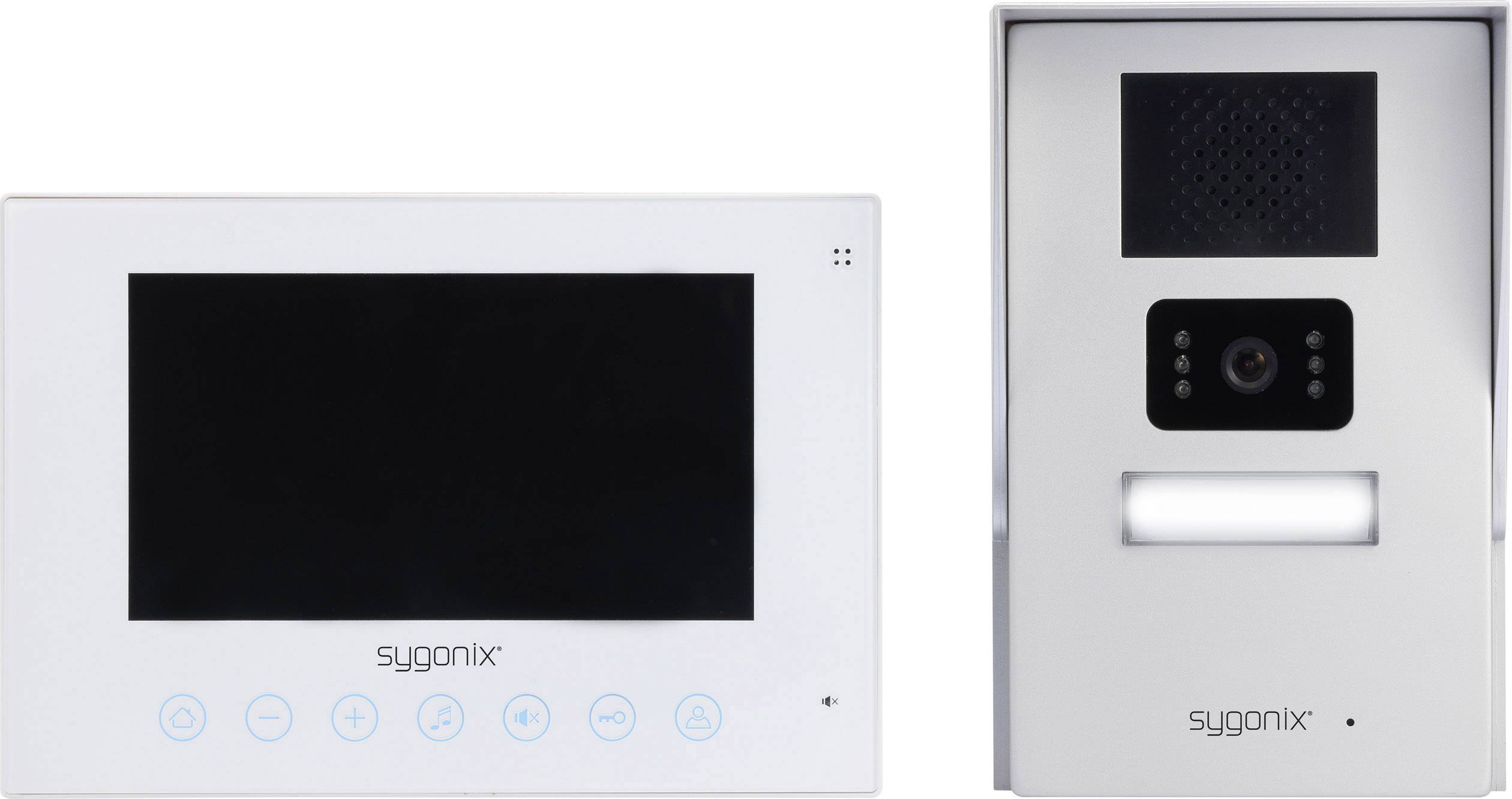 Káblový video dverový telefón Sygonix strieborná, biela