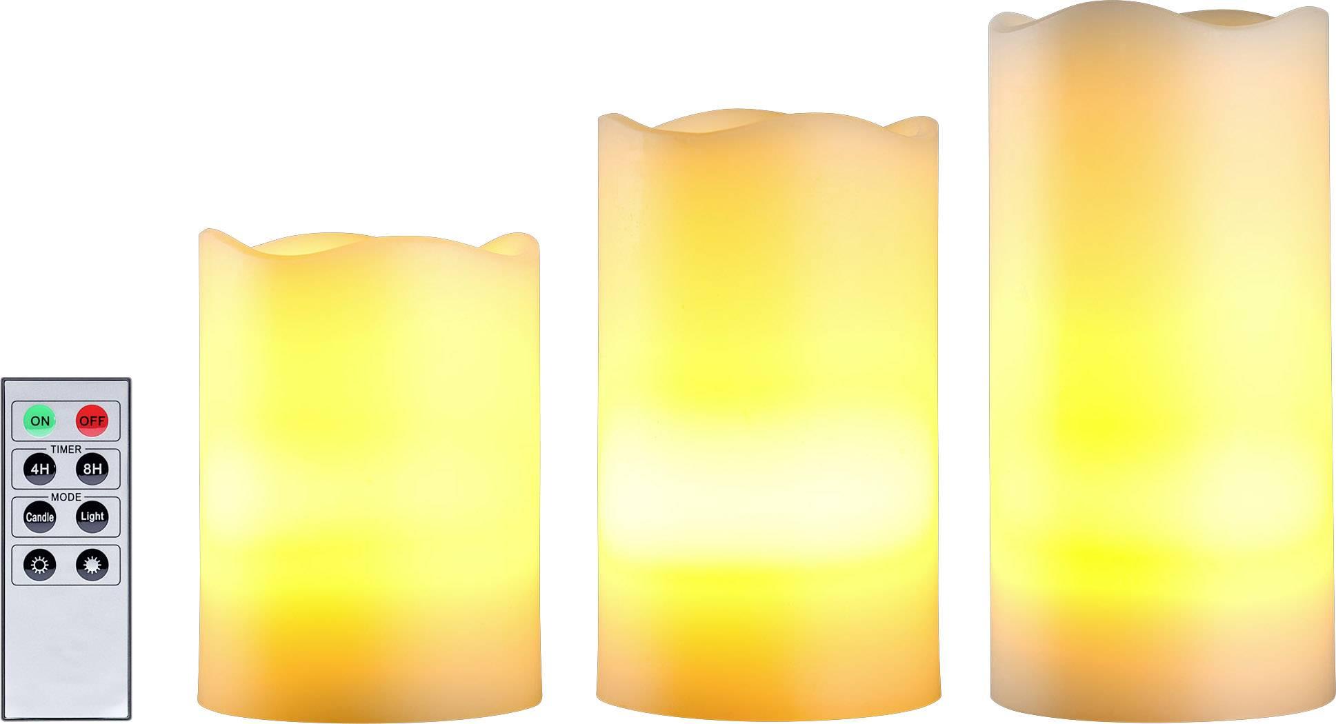 Vonkajšie/vnútroné LED sviečky Polarlite 001438214, 3 ks, biela