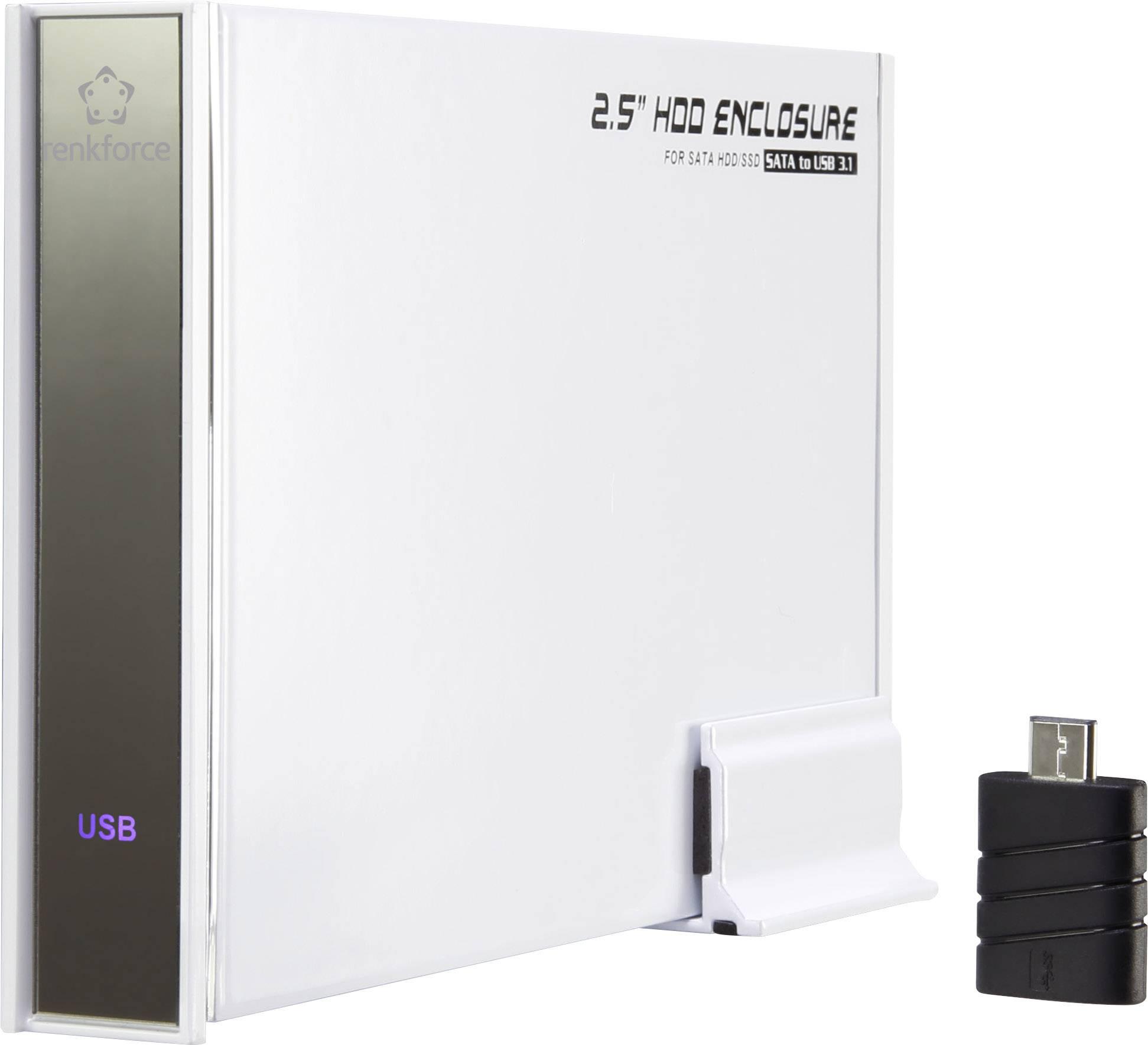"""Puzdro na pevný disk SATA 2.5 """" Renkforce RF-4315116, USB 3.1, biela"""