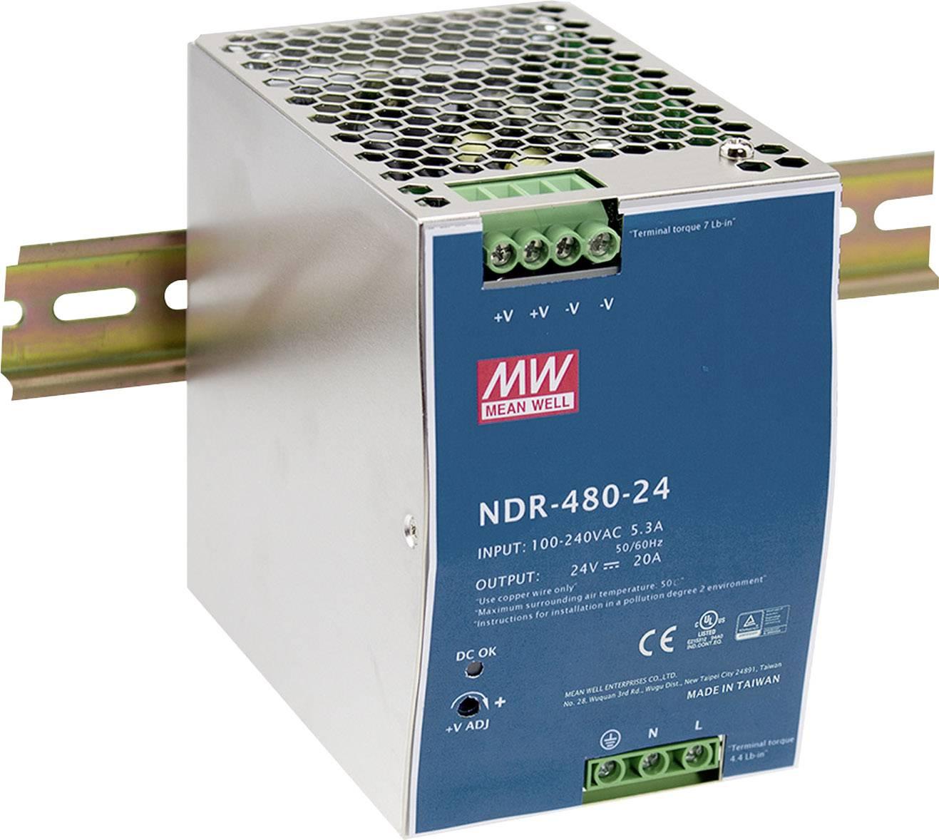 Síťový zdroj na DIN lištu Mean Well NDR-480-24, 1 x, 480 W