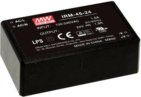 Sieťový zdroj AC/DC do DPS Mean Well IRM-45-15, 45 W