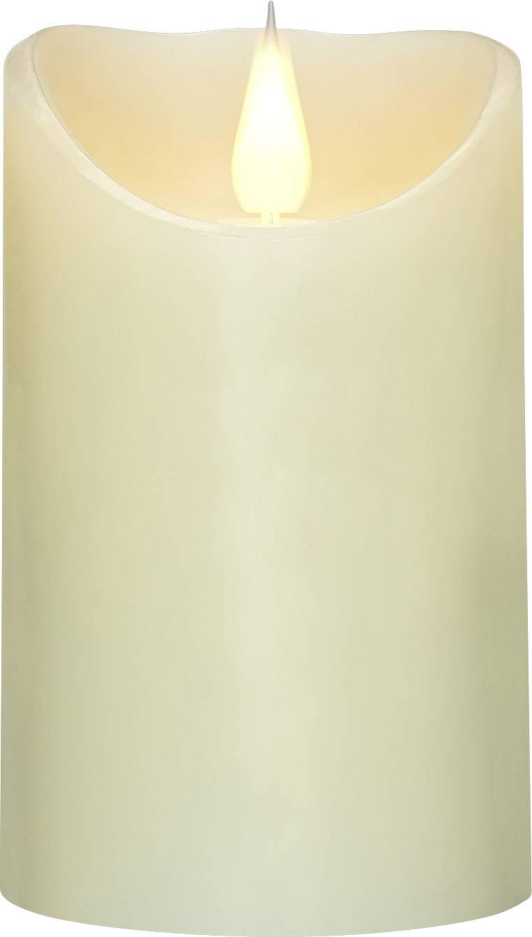 LED vosková sviečka Polarlite slonová kosť teplá biela (Ø x v) 7.5 cm x 12.5 cm