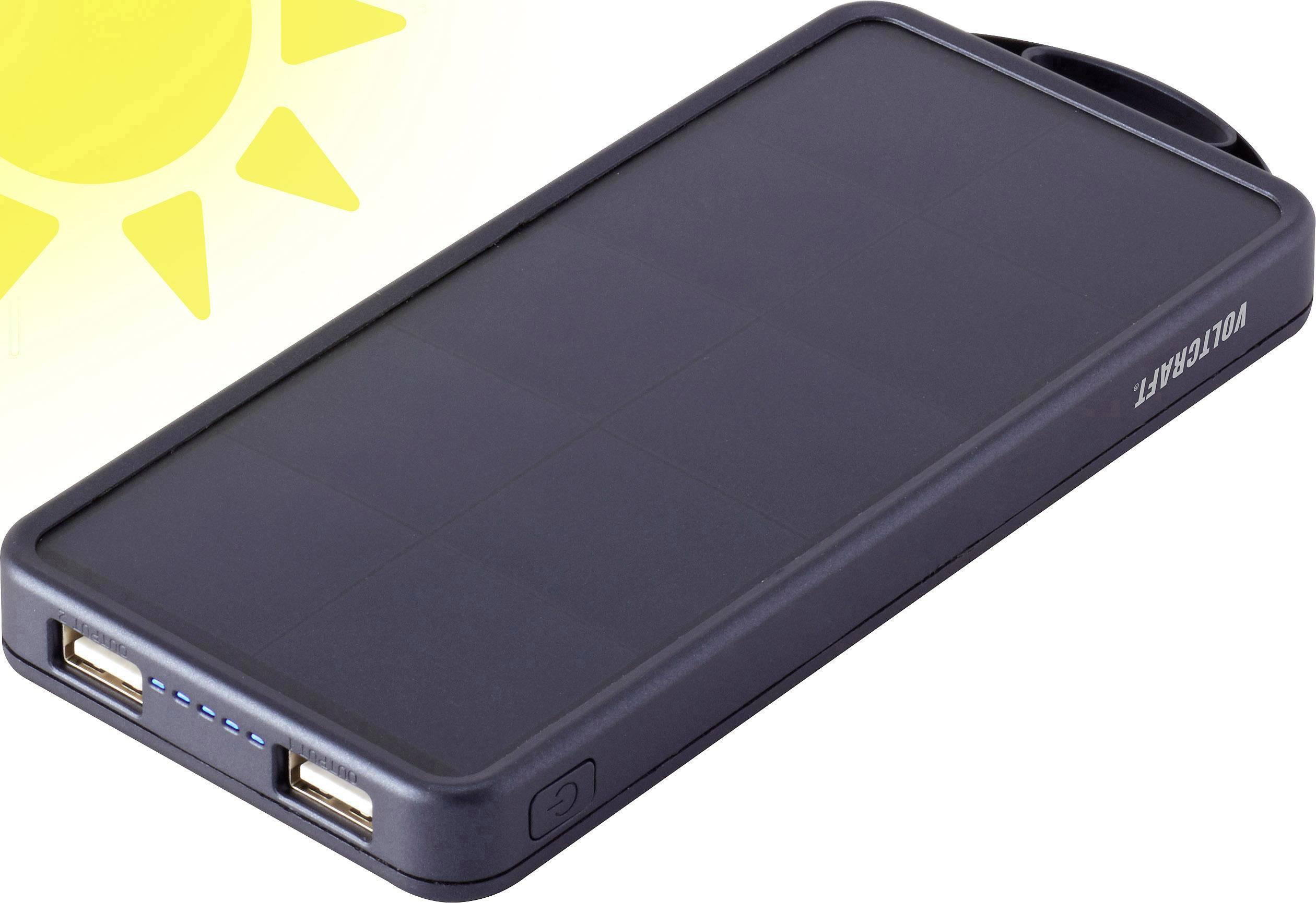 Solární powerbanka VOLTCRAFT SL-11 SE, Li-Pol 8000 mAh, černá, výroční edice