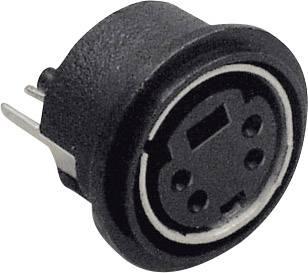 Mini DIN konektor BKL Electronic 0204032, zásuvka, vestavná vertikální, pólů 6, černá, poniklovaná, 1 ks