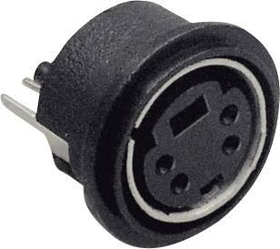 Mini DIN konektor BKL Electronic 0204030, zásuvka, vestavná vertikální, pólů 4, černá, poniklovaný, 1 ks