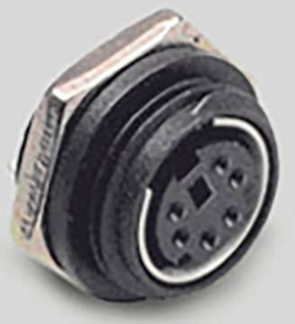 Mini DIN konektor BKL Electronic 0204038, zásuvka, vestavná vertikální, pólů 8, černá, poniklovaná, 1 ks