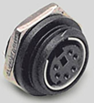 Mini DIN konektor BKL Electronic 0204038, zásuvka, vestavná vertikální, pólů 8, černá, poniklovaný, 1 ks
