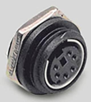 Mini DIN konektor BKL Electronic 0204037, zásuvka, vestavná vertikální, pólů 6, černá, poniklovaná, 1 ks