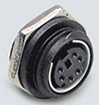 Mini DIN konektor BKL Electronic 0204035, zásuvka, vestavná vertikální, pólů 4, černá, poniklovaná, 1 ks