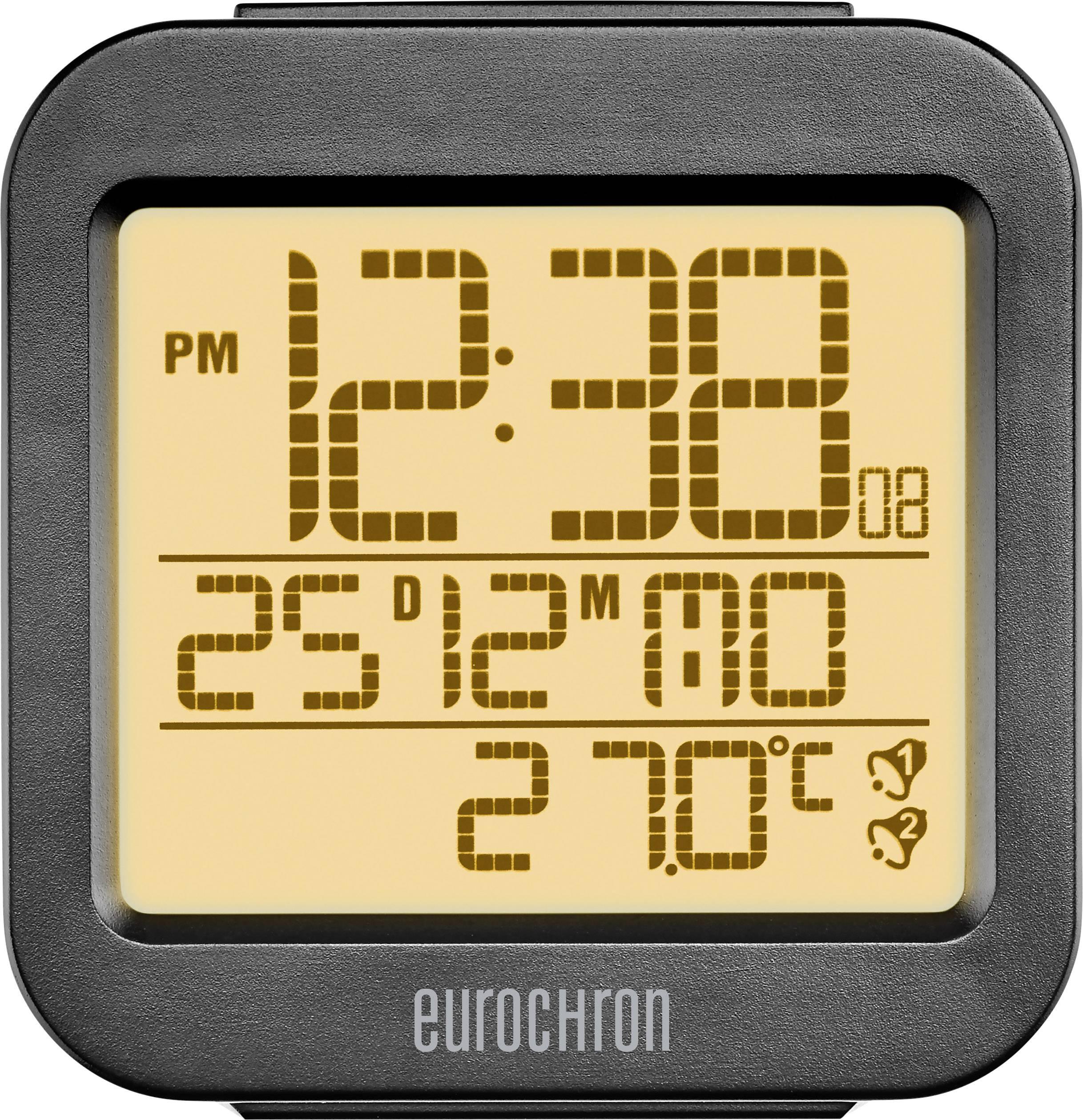 DCF budík Eurochron RC130, časov budenia 2, antracitová