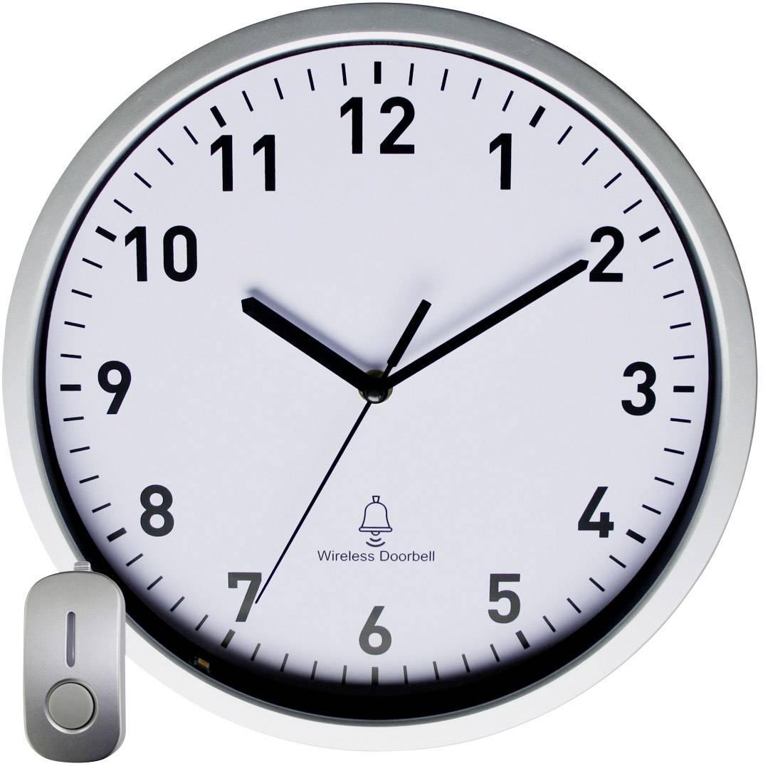 DCF nástenné hodiny s vchodovým zvončekom EUROTIME 51202, 30 cm x 5 cm, strieborná
