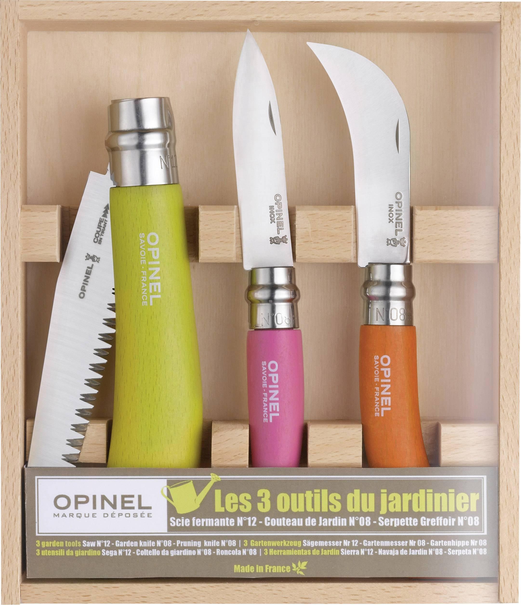 Zahradní sada nožů Opinel 254274, zelená, růžová, oranžová, chrom