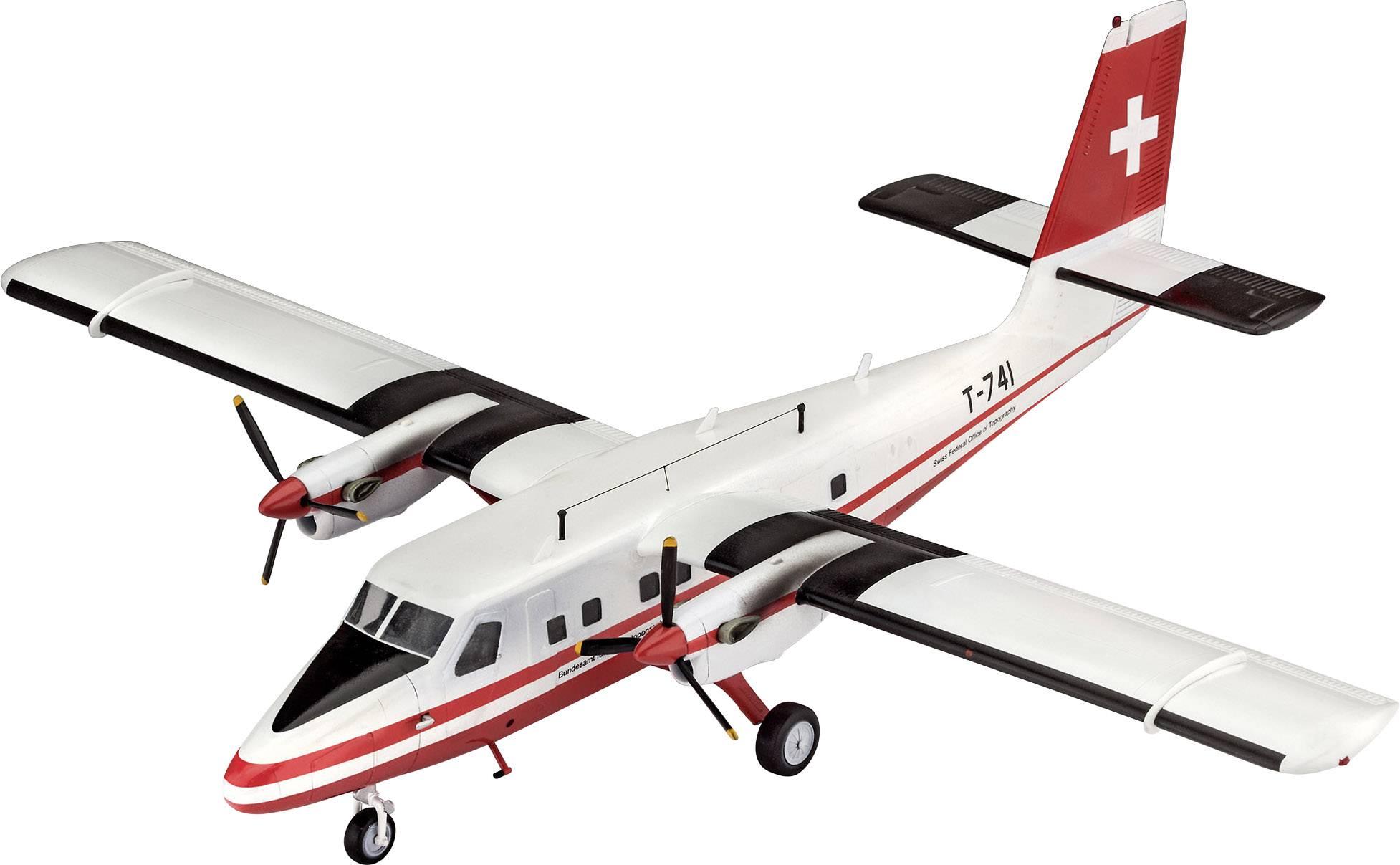 Model lietadla, stavebnica Revell DHC-6 Twinn Otter Swisstopo 03954, 1:72