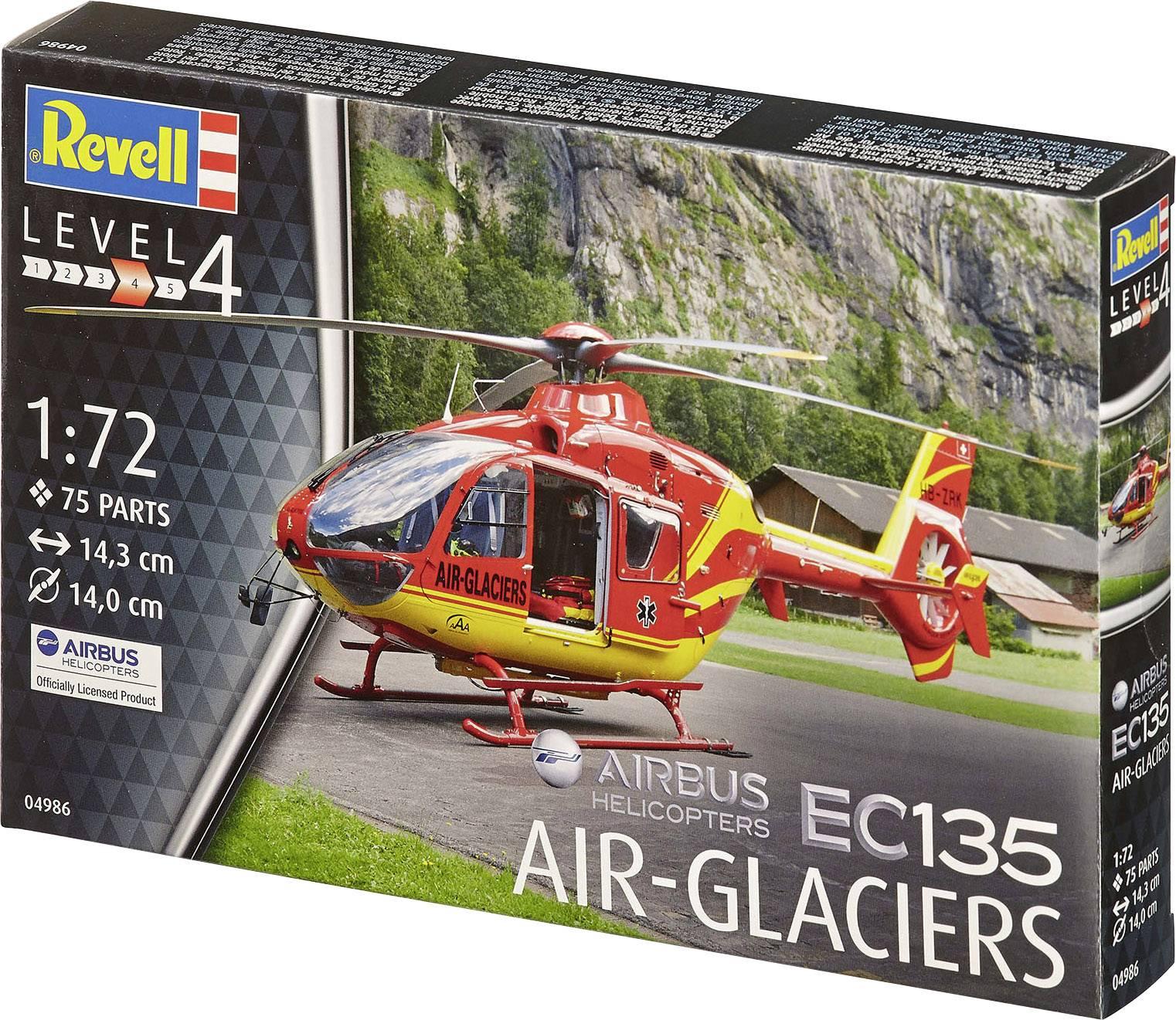 Model vrtuľníka, stavebnica Revell Airbus EC-135 Air-Glaciers 04986, 1:72