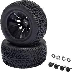 Kompletné kolesá blokový profil Reely 12056+12618 pre truggy, 65 mm, 1:10 XS, 2 ks, čierna