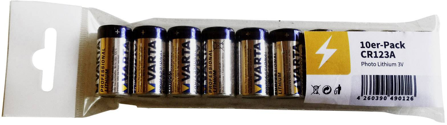Fotobatéria lítium Varta CR-123A 1430 mAh 3 V 10 ks