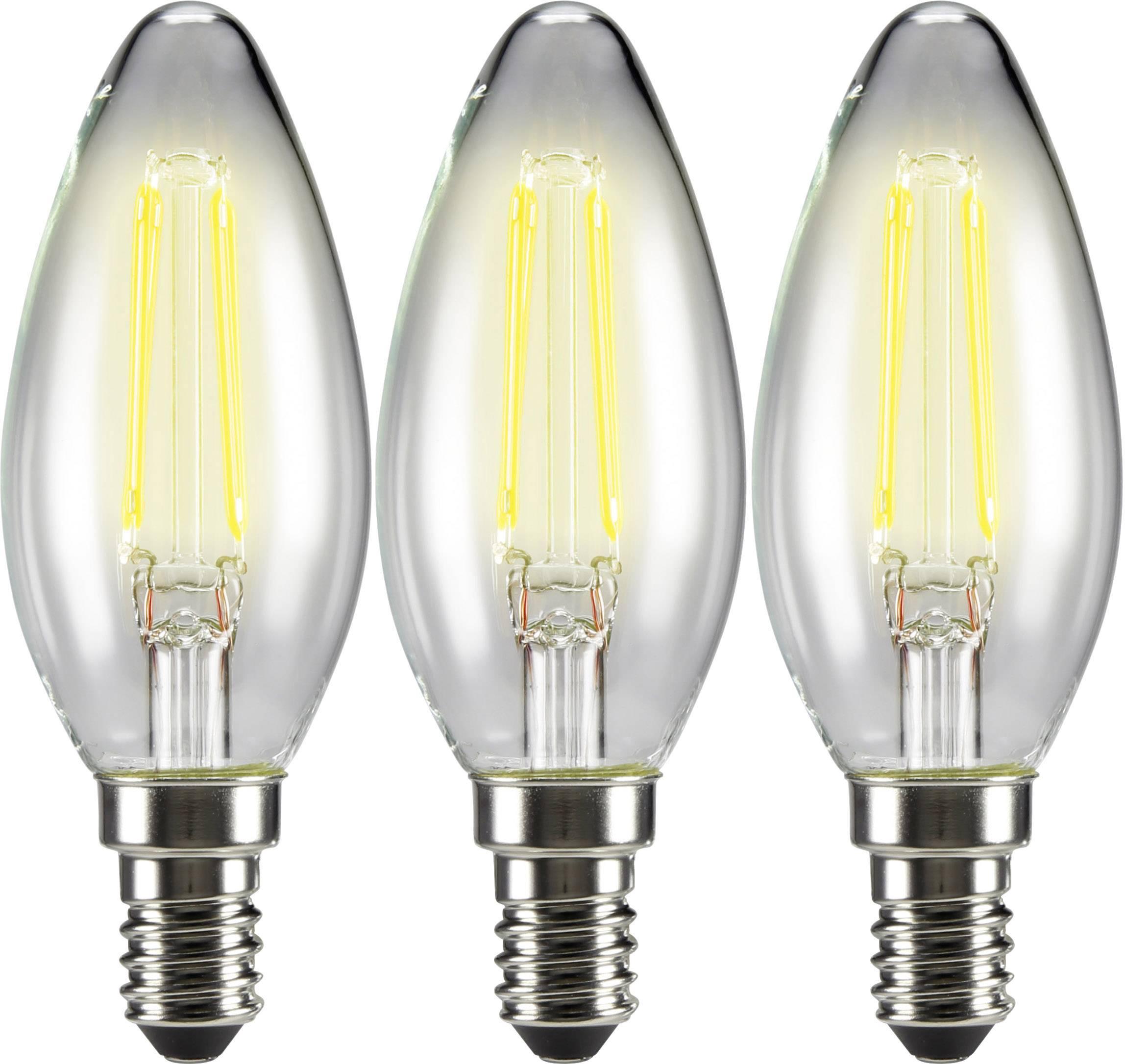 LED žiarovka Sygonix STC3004 , 3 pcs set 230 V, 4 W = 37 W, teplá biela, A++, vlákno, 3 ks