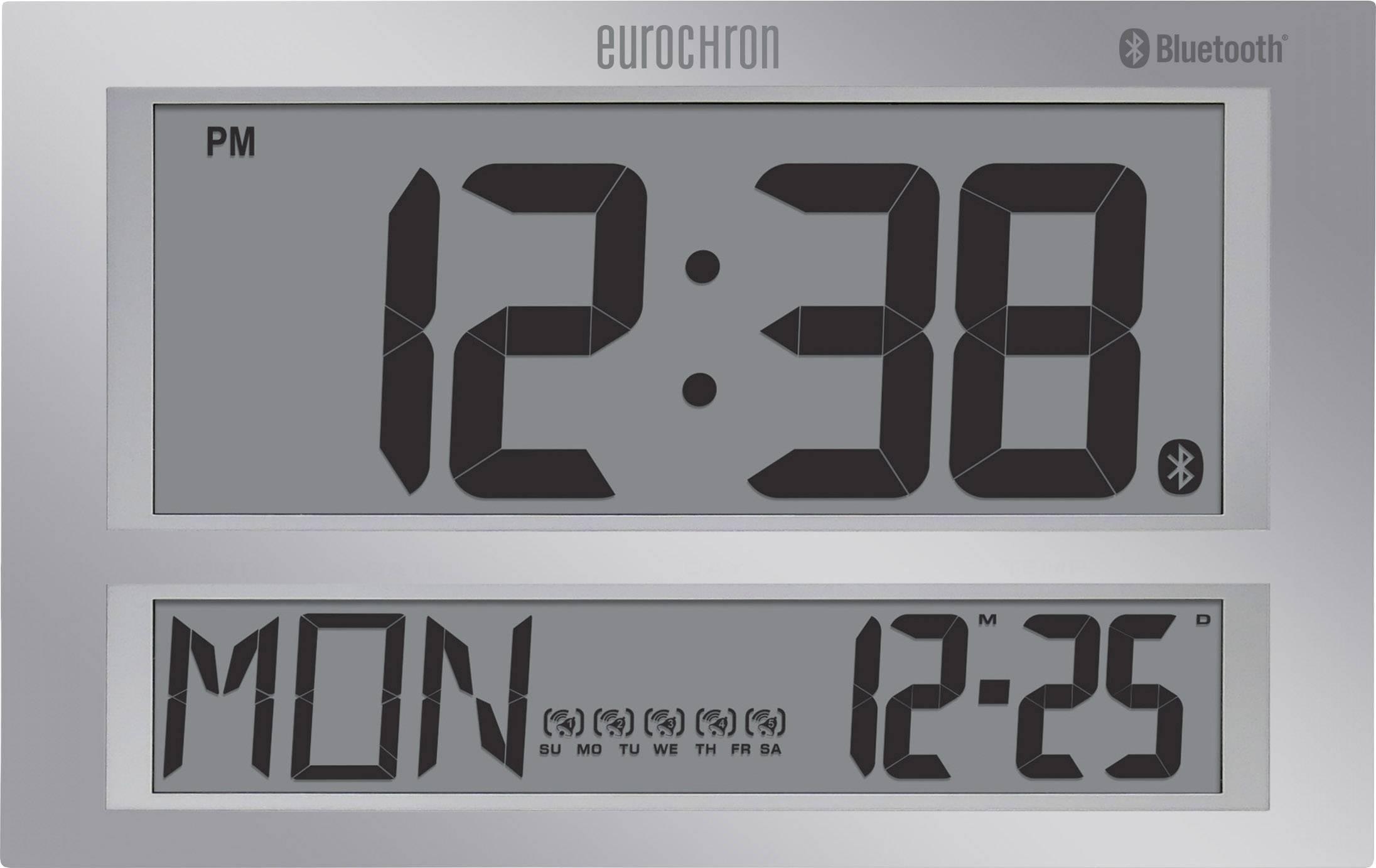 DCF nástenné hodiny Eurochron Jumbo Bluetooth sivá
