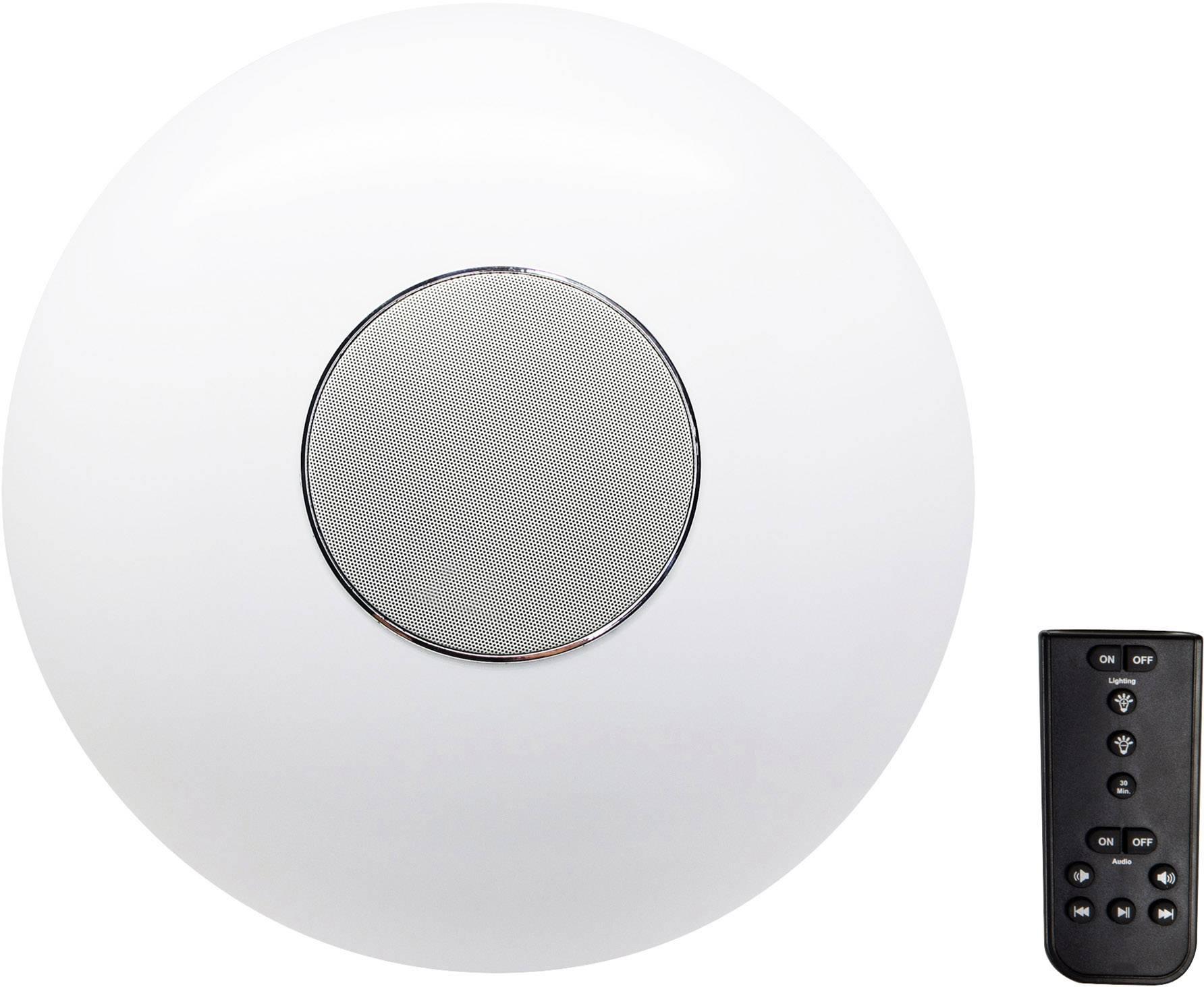 LED stropné svietidlo s reproduktorom 2v1 Renkforce Rubi, s diaľk.ovládačom, Bluetooth, Vonkajší Ø 40 cm, biela