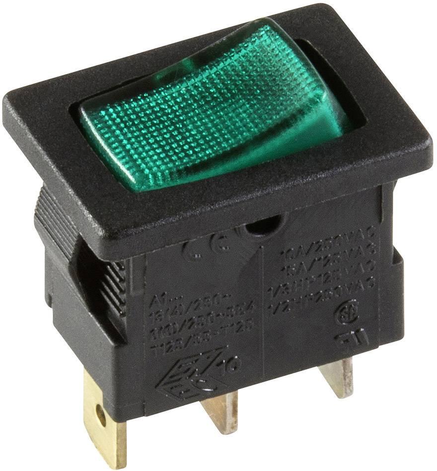 Kolébkový spínač s aretací interBär 3631-850.22, 250 V, 10 A, 1x vyp/zap, zelená, 1 ks