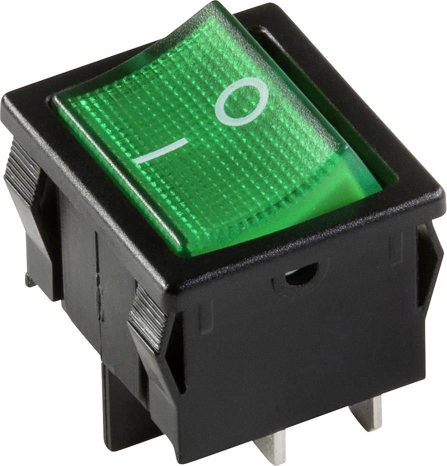 Kolískový spínač s aretáciou interBär 3628-250.22, 250 V, 10 A, 1x vyp/zap, Farba svetla: zelená, 1 ks