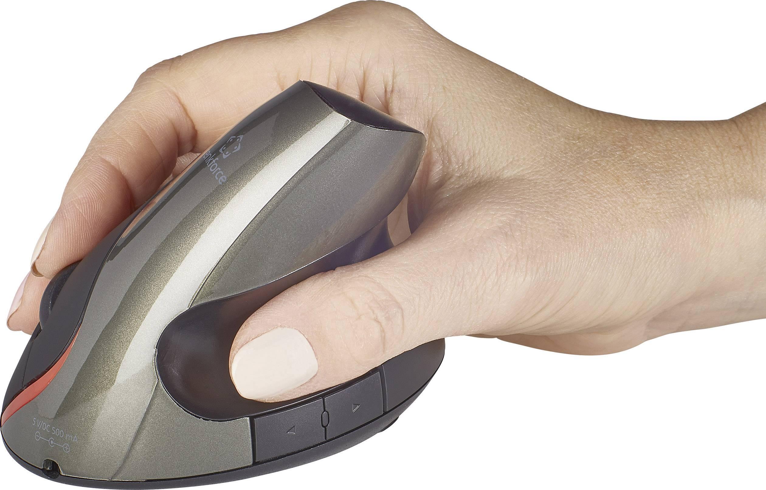 Optická bezdrôtová myš Renkforce RF-439 RF-4458408, ergonomická, čierna