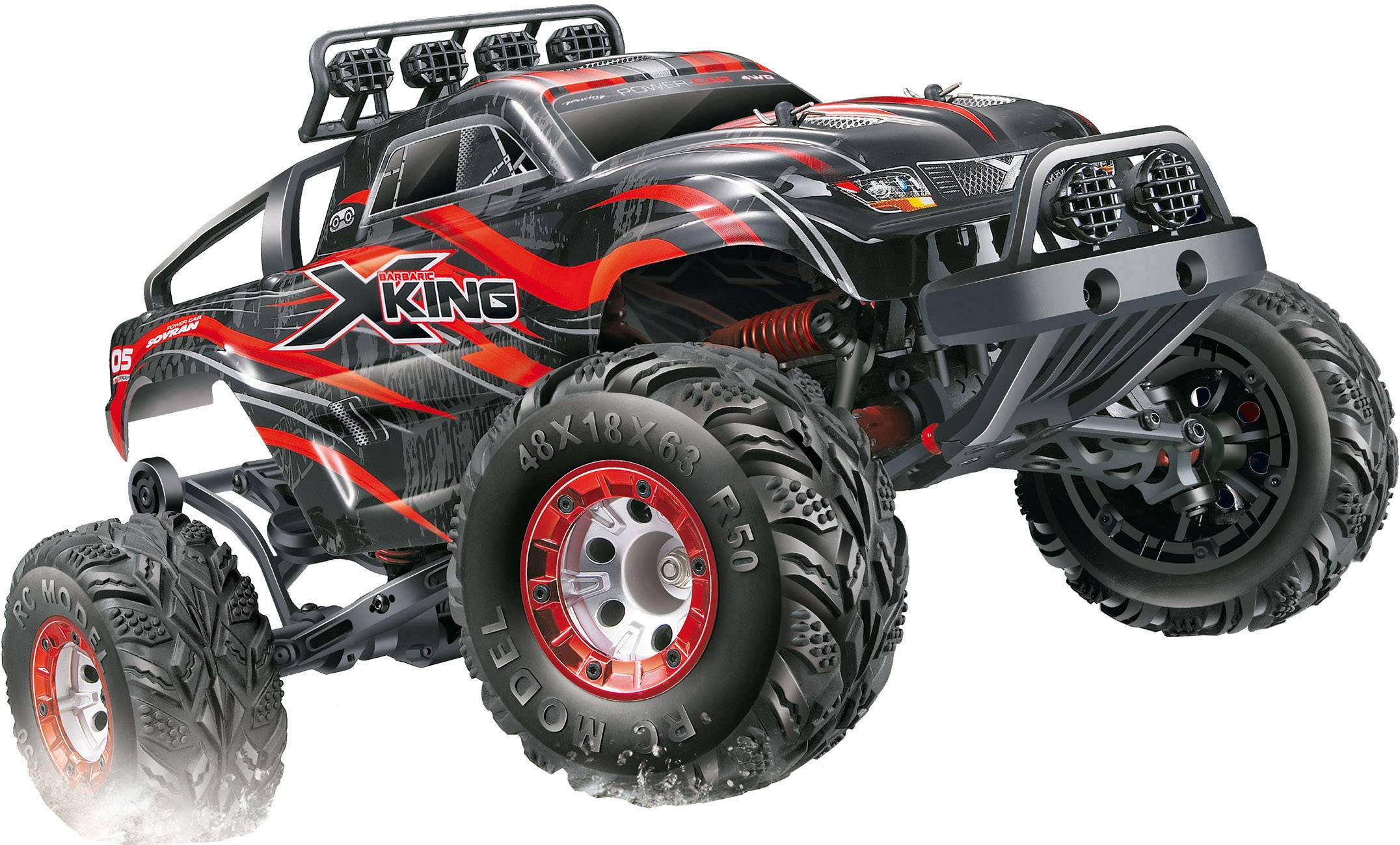RC model auta monster truck Amewi X-King, komutátorový, 1:12, 4WD (4x4), RtR, 30 km/h