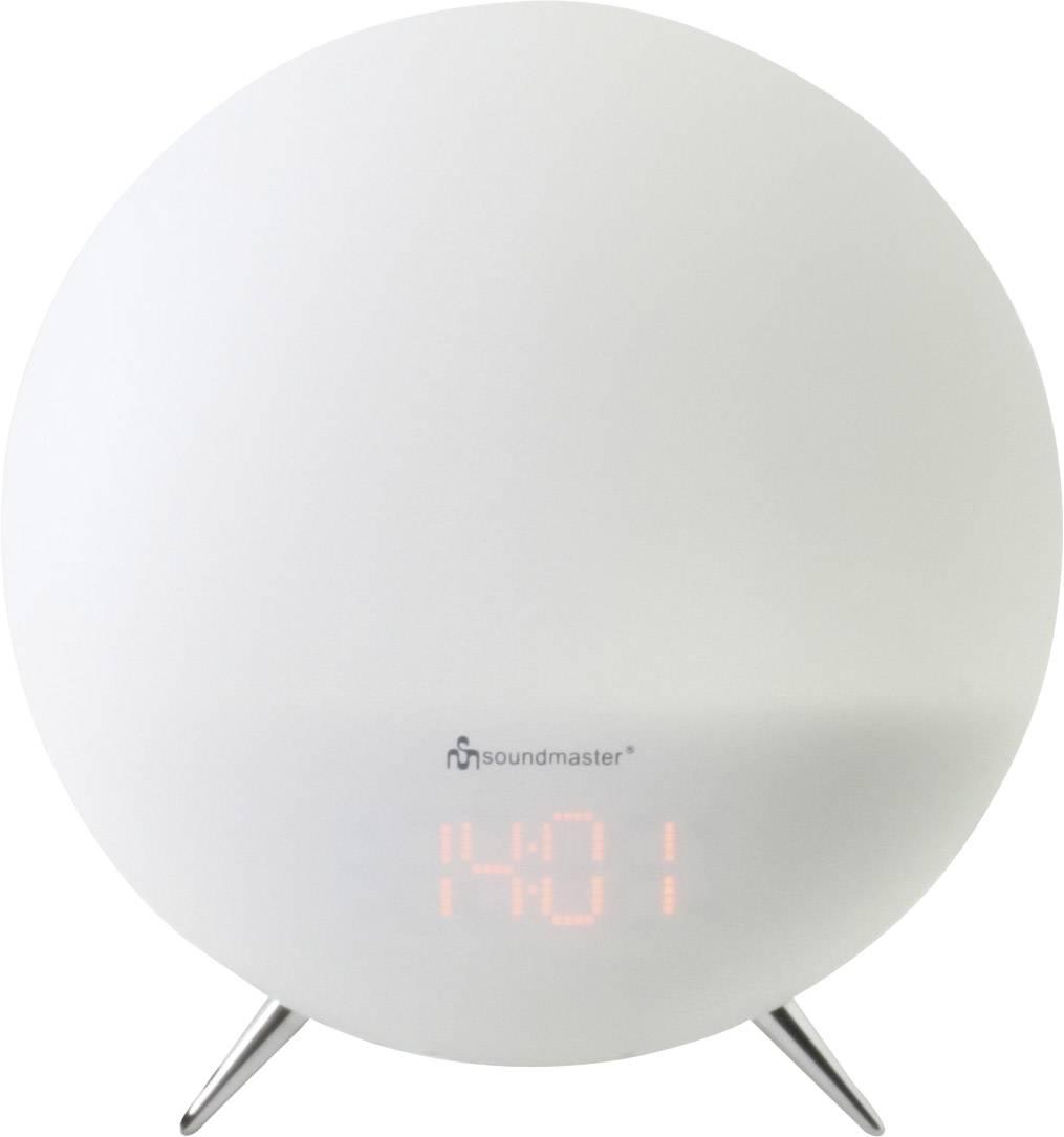 FM rádiobudík s náladovým osvetlením menaiacim farbu, SoundMaster UR220WE, AUX, UKW, biela