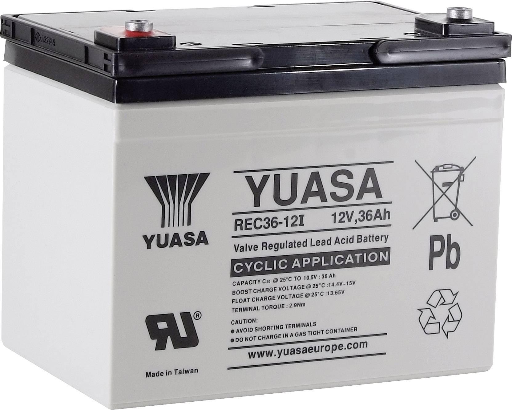 Olověný akumulátor Yuasa REC36-12 YUAREC3612, 36 Ah, 12 V