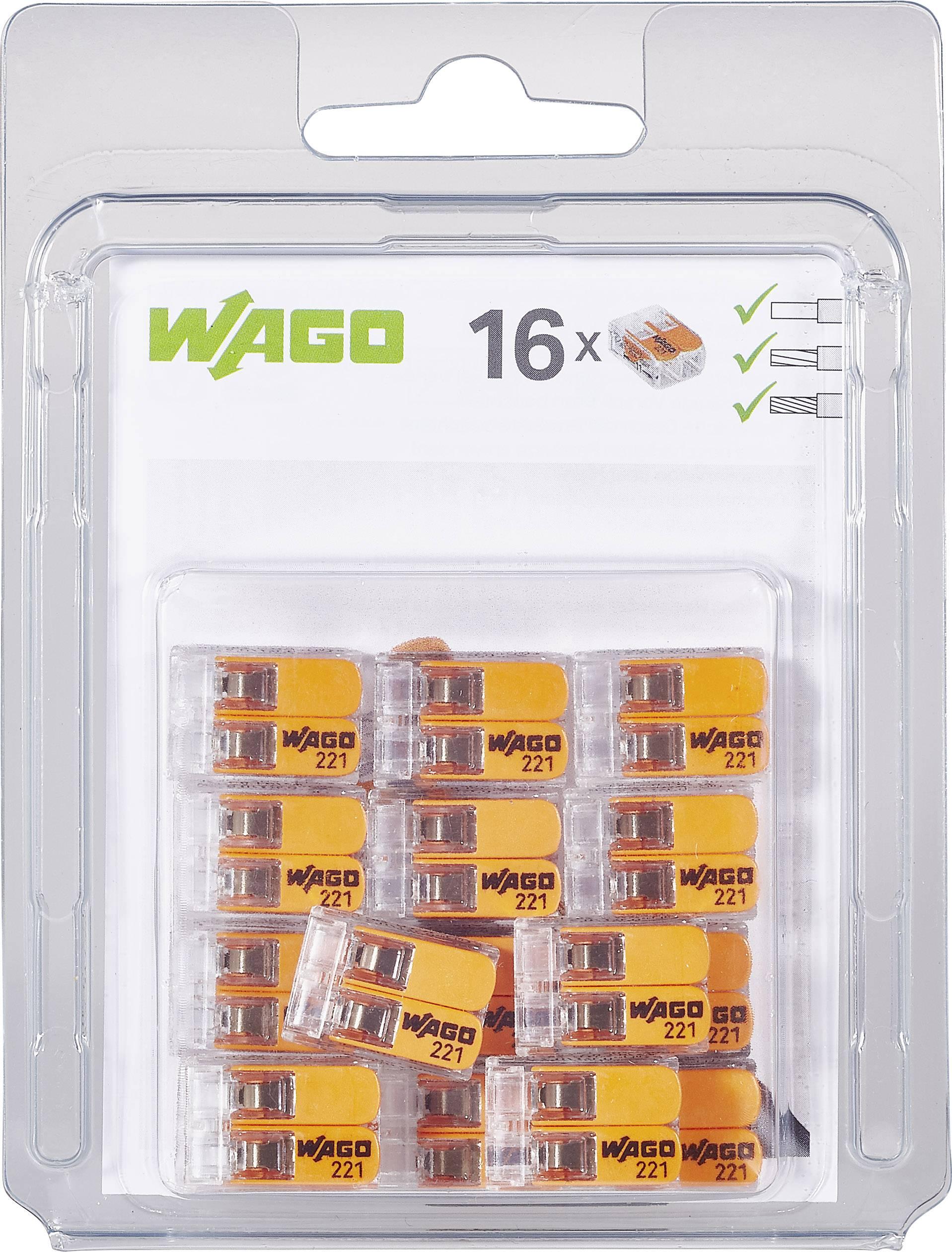 Krabicová svorkovnica WAGO 221-412/996-016 na kábel s rozmerom 0.14-4 mm², pólov 2, 16 ks, priehľadná, oranžová