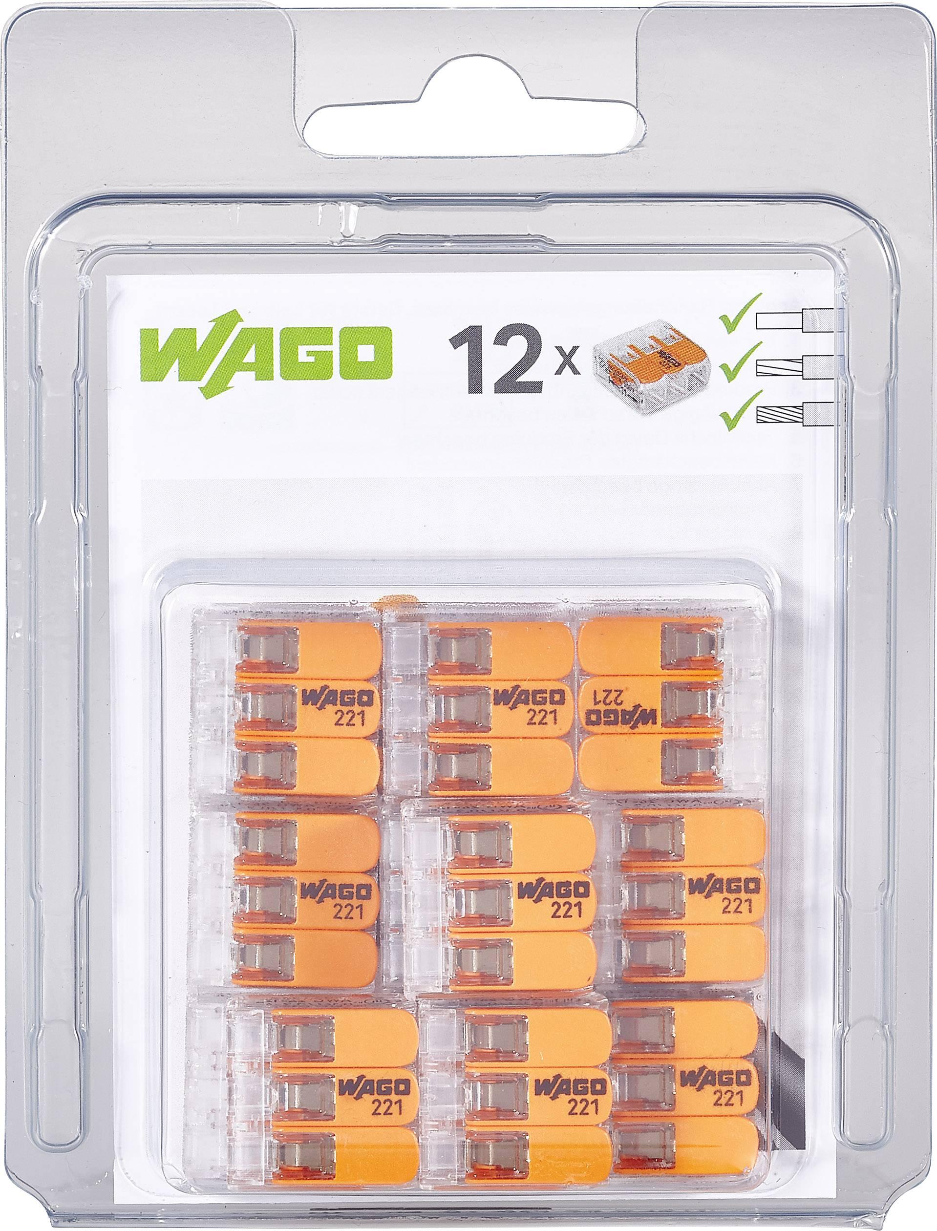 Kabelová svorka WAGO 221-413/996-012 pro kabel o rozměru 0.14-4 mm², pólů 3, 12 ks, transparentní, oranžová