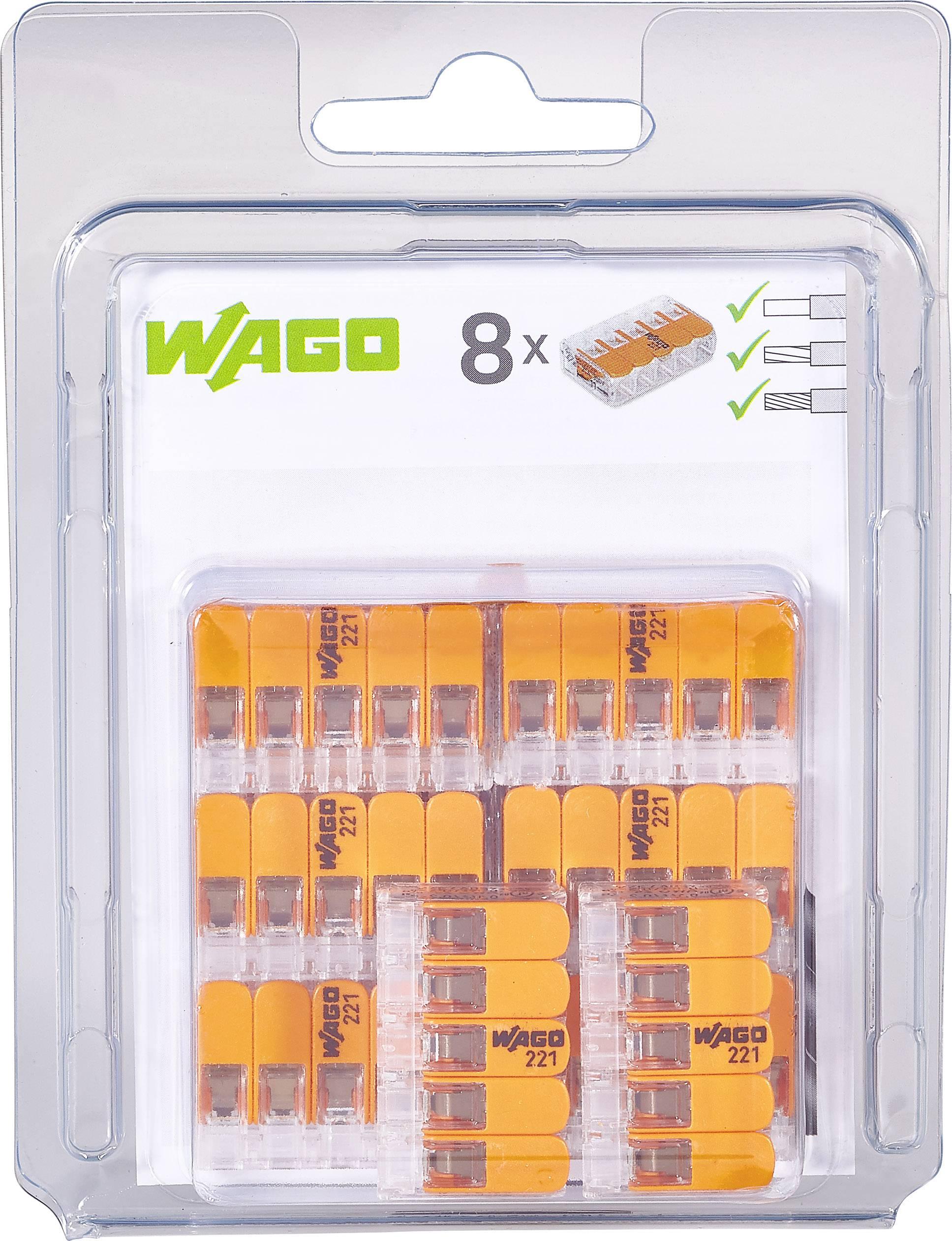 Kabelová svorka WAGO 221-415/996-008 pro kabel o rozměru 0.14-4 mm², pólů 5, 8 ks, transparentní, oranžová