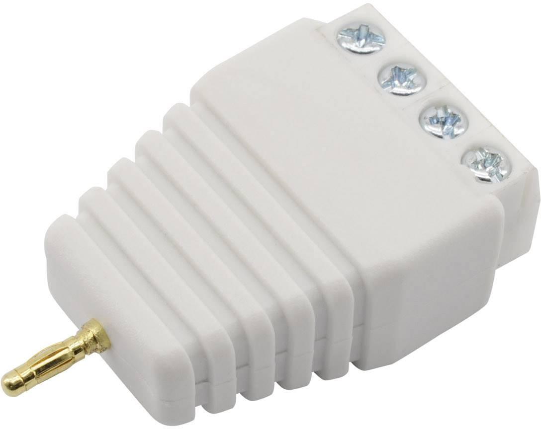 Laboratorní zástrčka Conrad Components Ø pin: 4 mm, zástrčka, rovná, bílá, 1 ks