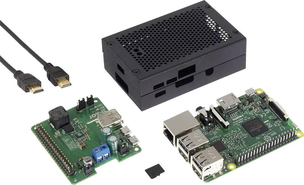 """Sada zdroje nepřerušovaného napájení Wide Range pro Raspberry Pi® 3 Model B, 1 GB, Noobs, včetně operačního systému """"Noobs"""", vč. krytu, vč. softwaru"""