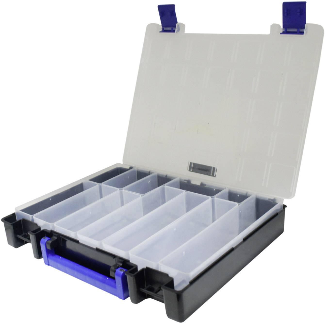 Kufřík na součástky VISO, ICASE3212, přihrádek: 12, 320 x 220 x 50 , černá, modrá