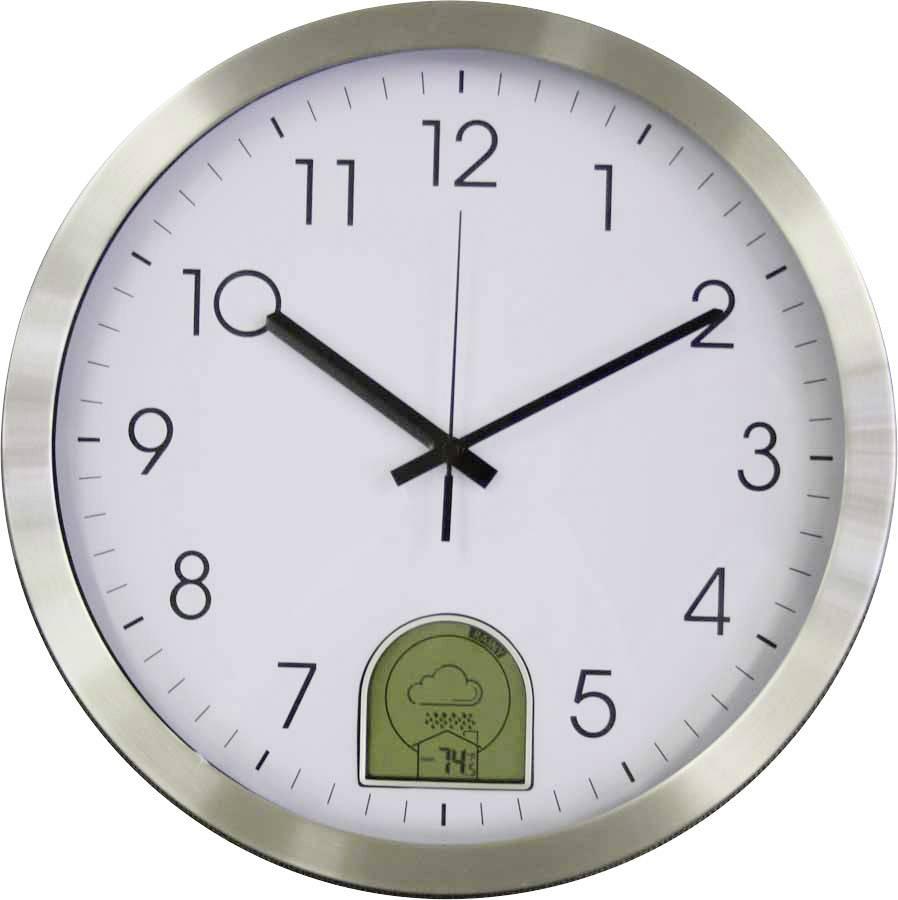 DCF nástěnné hodiny s předpovědí počasí EUROTIME 57010, Vnější Ø 35 cm, hliník