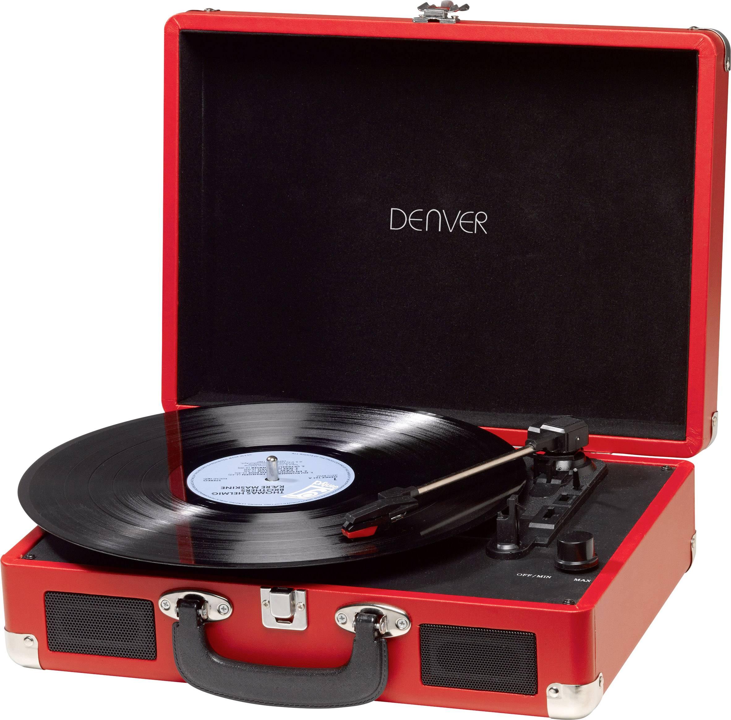 Kufříkový USB gramofon Denver VPL-120, červená