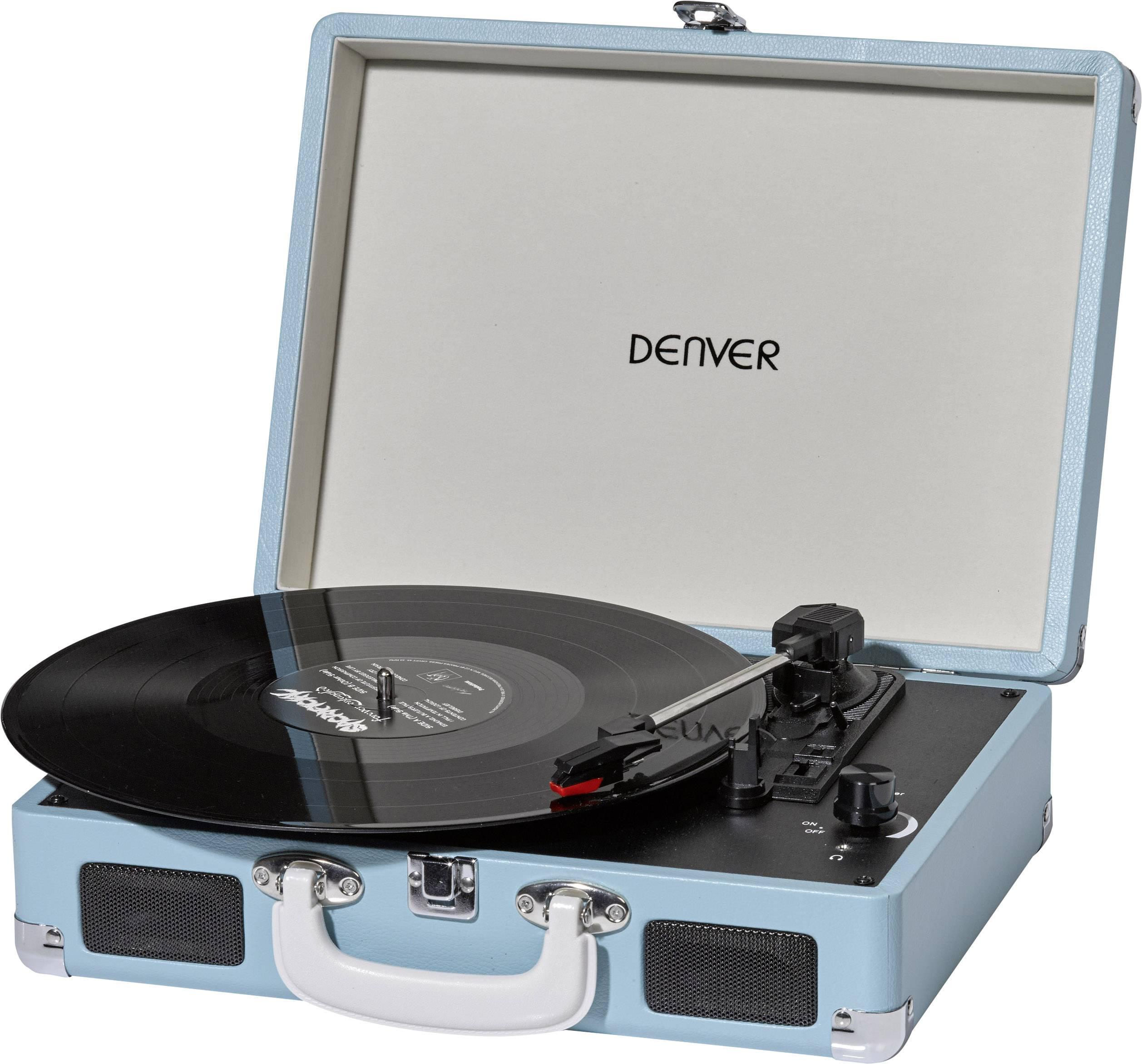 Kufříkový USB gramofon Denver VPL-120, modrá